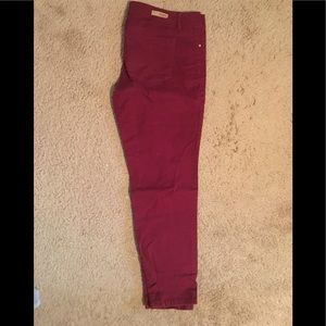 Maroon straight leg stretch jeans